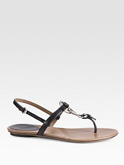 Gucci - Leather Horsebit-Detail Thong Sandals