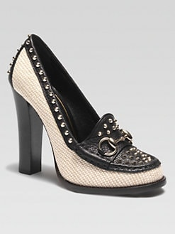 Gucci - Straw & Studded Leather Loafer Pumps