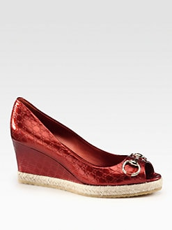 Gucci - Charlotte Metallic Leather Espadrille Wedges
