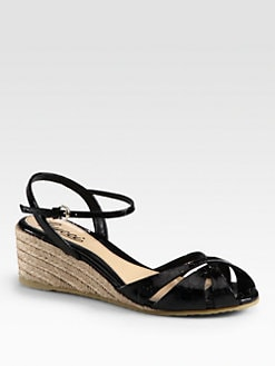 Gucci - Penelope GG Patent Leather Espadrille Wedges