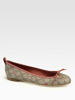 Gucci - Ali Canvas & Leather Ballet Flats