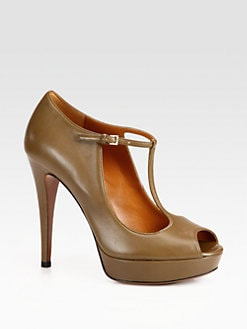 Gucci - Betty Leather T-Strap Platform Pumps