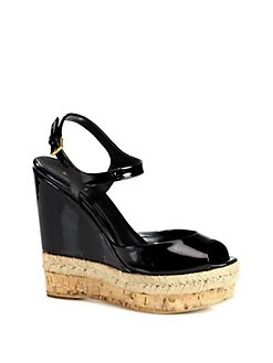 Gucci - Hollie Patent Leather Cork Wedge Sandals