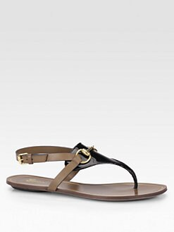 Gucci - Bicolor Patent Leather & Leather Horsebit Sandals