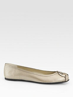 Gucci - GG Metallic Leather Ballet Flats