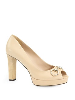 Gucci - Sunset Leather Horsebit Platform Peep Toe Pumps