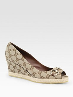 Gucci - Charlotte Peep Toe Wedge Pumps