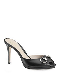 Gucci - Hollywood Leather Horsebit Peep Toe Sandals