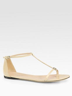 Gucci - Vernice Patent Leather T-Strap Logo Sandals
