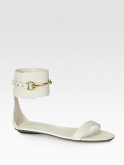 Gucci - Ursula Leather Horsebit Ankle Strap Sandals