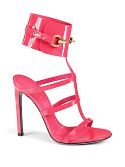 Gucci - Ursula Patent Leather Horsebit Ankle Strap Sandals