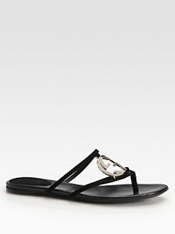 Gucci - GG Suede Cage Thong Sandals
