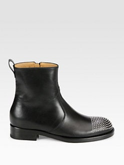 Gucci - Studded Leather Ankle Boots