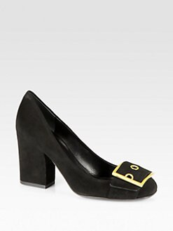 Gucci - Suede Buckle Pumps