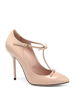 Gucci - Beverly Patent Leather T-Strap Pumps