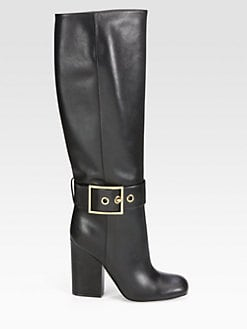 Gucci - Leather Buckle Knee-High Boots