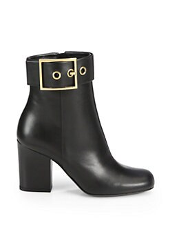 Gucci - Leather Buckle Ankle Boots
