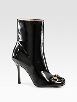 Gucci - Horsebit Patent Leather Ankle Boots