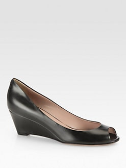 Gucci - Leather Wedge Pumps