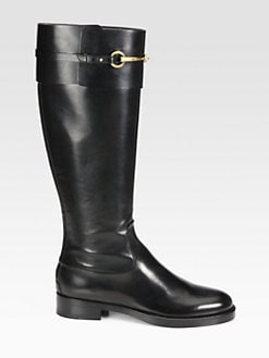 Gucci - Horsebit Leather Knee-High Boots
