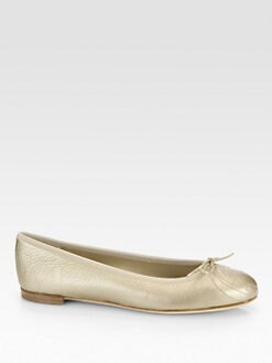 Gucci - GG Embroidered Metallic Leather Ballet Flats