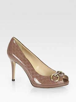 Gucci - Logo-Embossed Patent Leather Horsebit Pumps