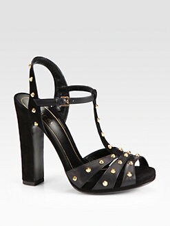 Gucci - Jacquelyne Studded Leather and Suede Sandals