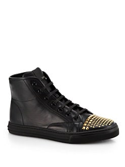 Gucci - Cali Leather Studded Cap-Toe High-Top Sneakers