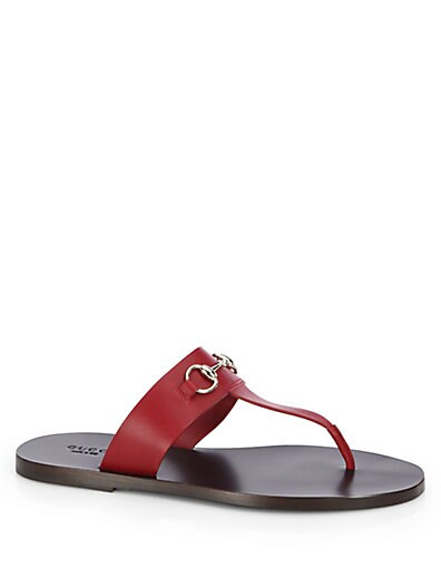 Marcy Leather Horsebit Thong Sandals
