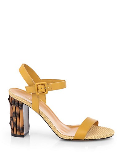 Dahlia Leather Bamboo-Heel Sandals