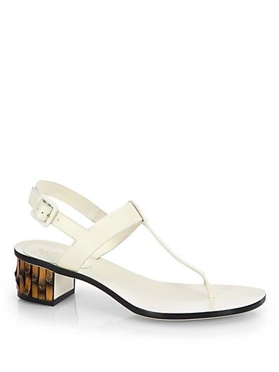Dahlia Leather Bamboo-Heel Thong Sandals