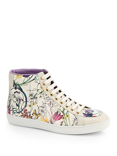 Brooklyn Floral-Print Leather High-Top Sneakers