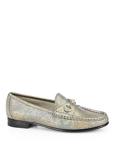 Nizza Crackled Leather Moccasin Loafers