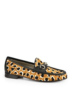 Gucci - Leopard-Print Calf Hair Horsebit Loafers