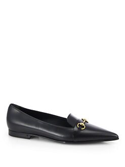 Gucci - Heidi Leather Point Toe Horsebit Loafers