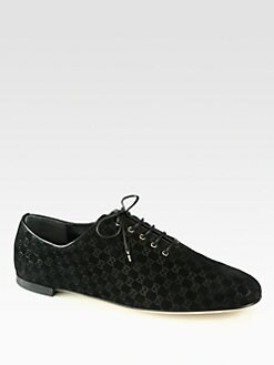 Gucci - Sarah GG Suede Lace-Up Oxfords