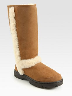 UGG Australia - Shearling Trim Suede Tall Boots