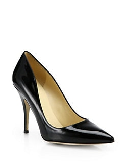 Kate Spade New York - Licorice Patent Leather Polka Dot Pumps