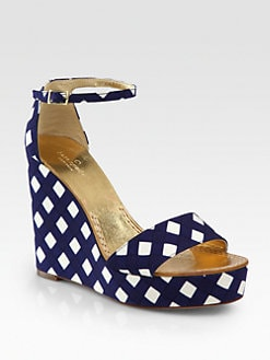 Kate Spade New York - Dabney Gingham Wedge Sandals