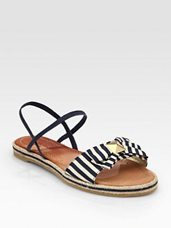 Kate Spade New York - Cece Striped Canvas Bow Sandals