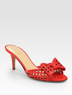 Kate Spade New York - Maylin Cutout Patent Leather Bow Sandals