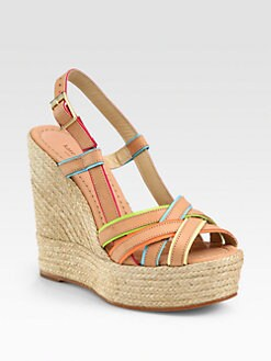 Kate Spade New York - Ladan Multicolored Leather Espadrille Wedges