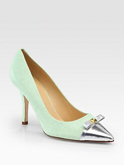 Kate Spade New York - Paloma Embossed Leather & Metallic Bow Pumps
