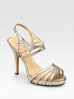 Kate Spade New York - Raven Strappy Metallic Leather Platform Sandals