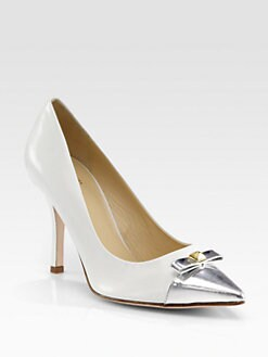 Kate Spade New York - Paloma Metallic Bow Leather Pumps