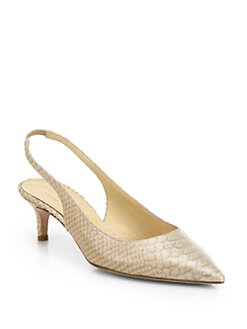 Kate Spade New York - Saia Snake-Embossed Metallic Leather Evening Pumps