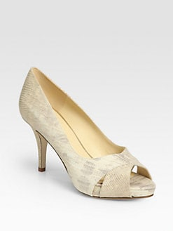 Kate Spade New York - Billie Metallic Lizard-Print Leather Pumps