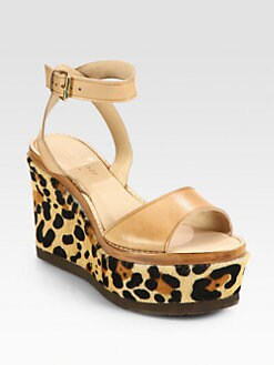 Kate Spade New York - Trail Leather & Leopard-Print Calf Hair Wedge Sandals