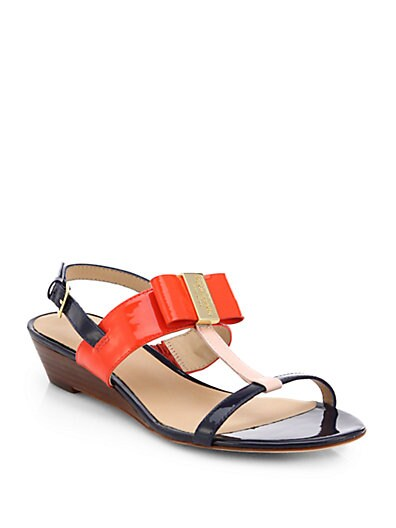 Kate Spade New York Vinny Patent Leather T Strap Wedge Sandals   Rose Pink