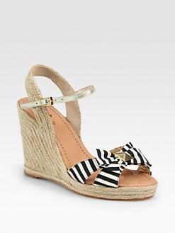 Kate Spade New York - Carmelita Striped Canvas Bow Espadrille Wedges